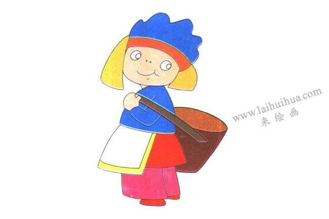 背筐和鞋子,背筐的小女孩儿童卡通画法步骤03