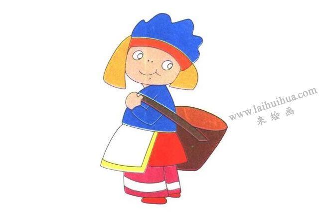 背筐的小女孩儿童卡通画