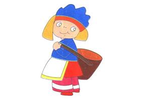 背筐的小女孩儿童卡通画法步骤