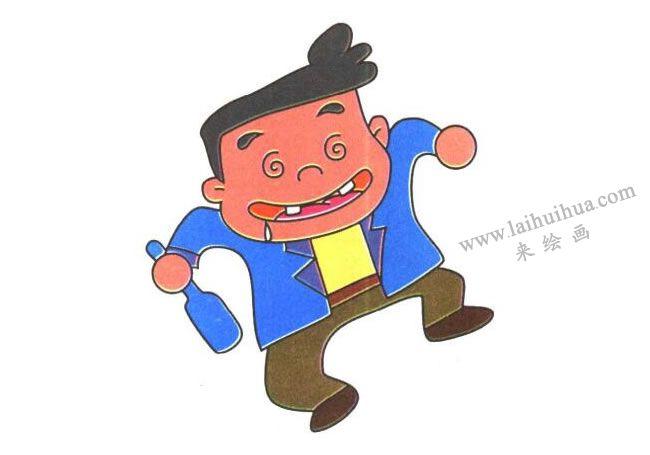 腿和脚,醉酒的人儿童卡通画法步骤03