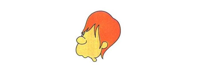 涛涛的头部,沮丧的涛涛儿童卡通画法步骤01