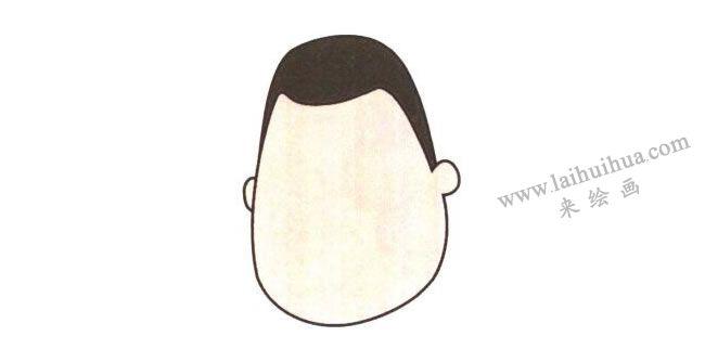 小胖的头,小胖儿童卡通画法步骤01