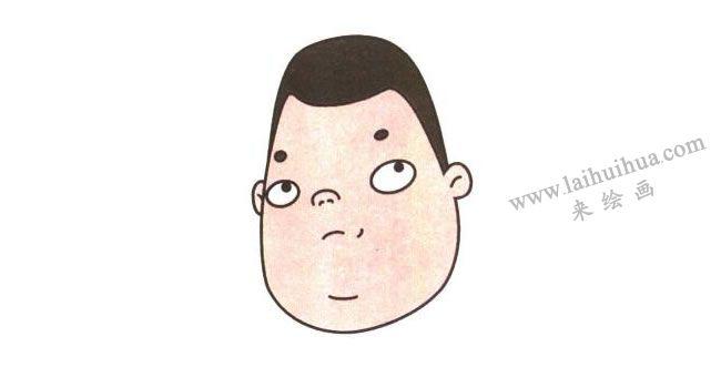 小胖的五官,小胖儿童卡通画法步骤02