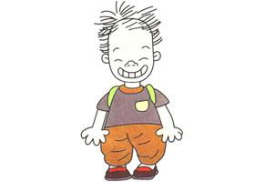 大嘴男孩儿童卡通画法步骤