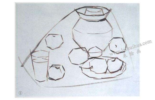 静物水粉画的作画步骤:起稿