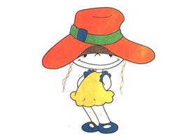 戴帽子的女孩儿童卡通画法步骤