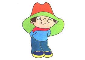 戴帽子的男孩儿童卡通画法步骤