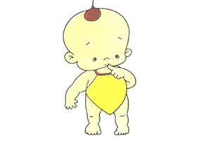 戴兜兜的小孩儿童卡通画法步骤
