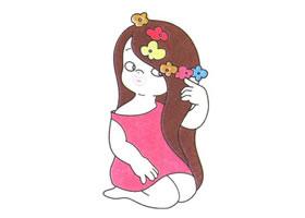 戴花的女孩儿童卡通画法步骤