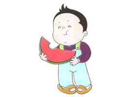 吃西瓜的胖胖儿童卡通画法步骤