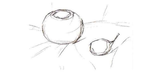 陶罐和梨子水粉画法步骤01