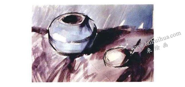 陶罐和梨子水粉画法步骤02