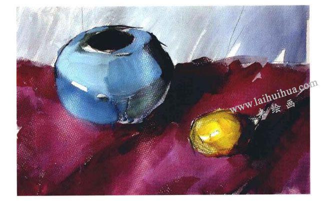 陶罐和梨子水粉画法步骤03