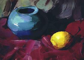 陶罐和梨子水粉画法步骤