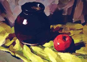 苹果和陶罐水粉画法步骤