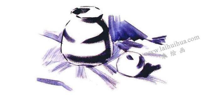 苹果和陶罐水粉画法步骤02