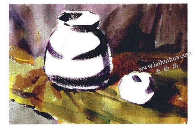 苹果和陶罐水粉画法步骤03