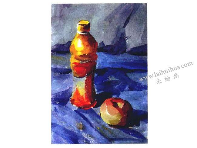 饮料瓶和苹果水粉画法步骤03