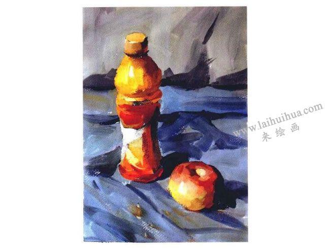 饮料瓶和苹果水粉画法步骤04