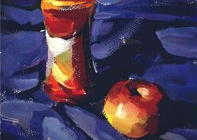 饮料瓶和苹果水粉画法步骤