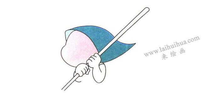 头部和手,爱劳动的姐姐儿童卡通画法步骤01