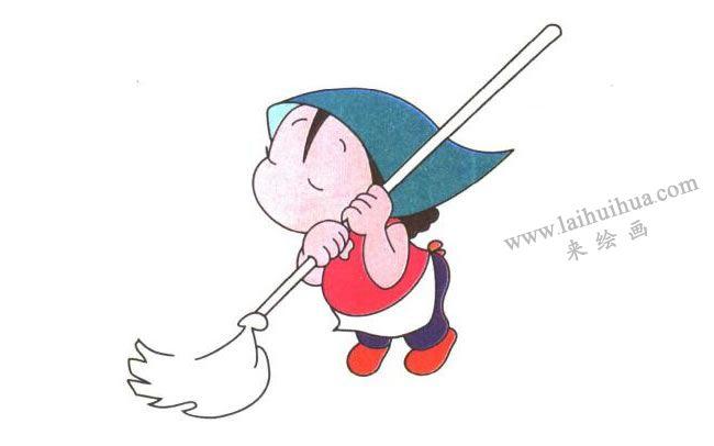 姐姐的右脚和拖把;爱劳动的姐姐儿童卡通画法步骤03