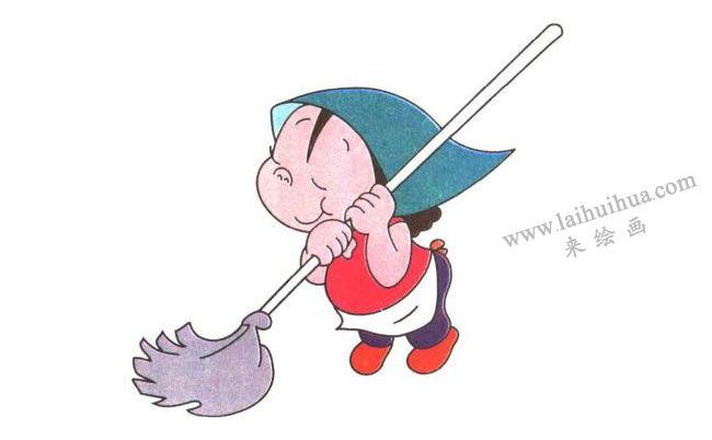 爱劳动的姐姐儿童卡通画