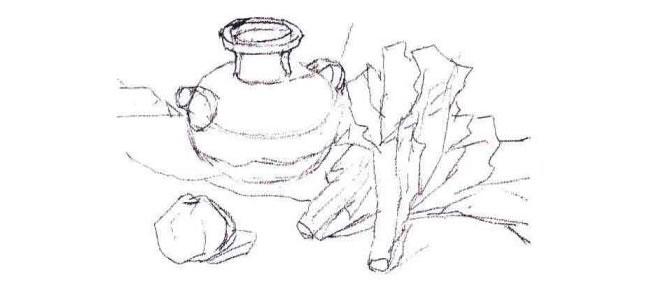 陶罐、蔬菜和水果水粉画法步骤01