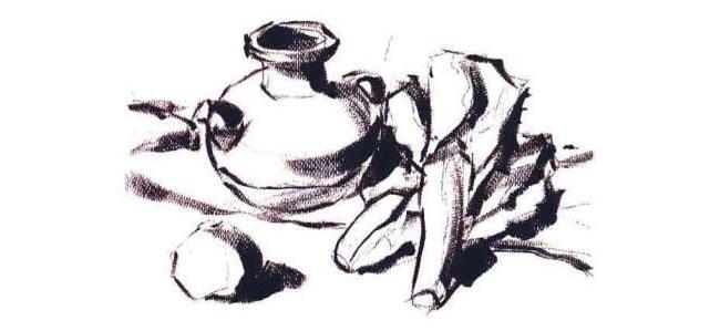 陶罐、蔬菜和水果水粉画法步骤02
