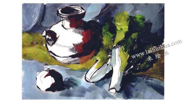 陶罐、蔬菜和水果水粉画法步骤03