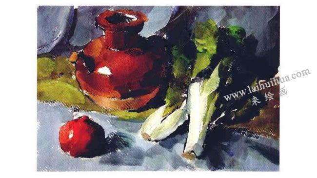 陶罐、蔬菜和水果水粉画法步骤04