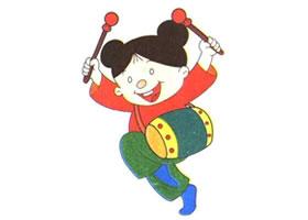 打鼓女孩的儿童卡通画法步骤