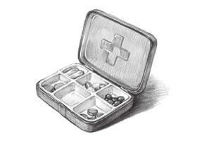 便捷药盒的素描画法步骤