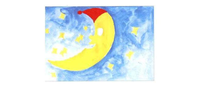 月亮船水粉画法步骤02