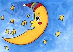 月亮船水粉画法步骤