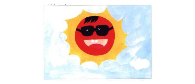 太阳的眼睛、头发、牙齿、舌头;太阳哥哥水粉画法步骤03