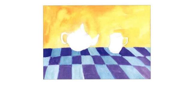 茶杯和茶壶儿童水粉画法步骤01