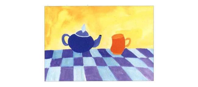 茶杯和茶壶儿童水粉画法步骤02