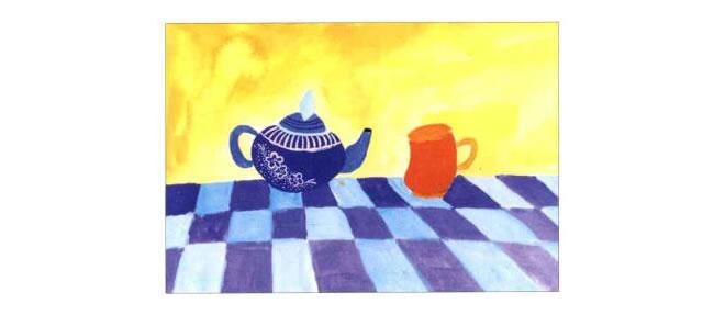 茶杯和茶壶儿童水粉画法步骤03
