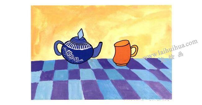 茶杯和茶壶儿童水粉画法步骤04