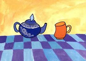 茶杯和茶壶儿童水粉画法步骤