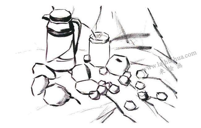 静物组合水粉画法步骤02