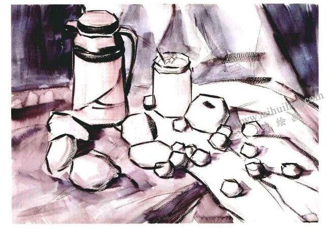 静物组合水粉画法步骤03