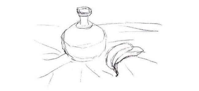 香蕉与陶罐水粉画法步骤01
