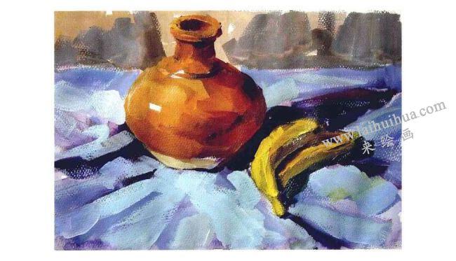 香蕉与陶罐水粉画法步骤003