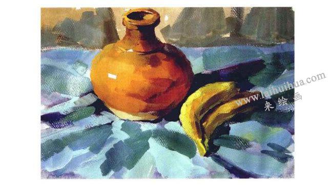 香蕉与陶罐水粉画法步骤04