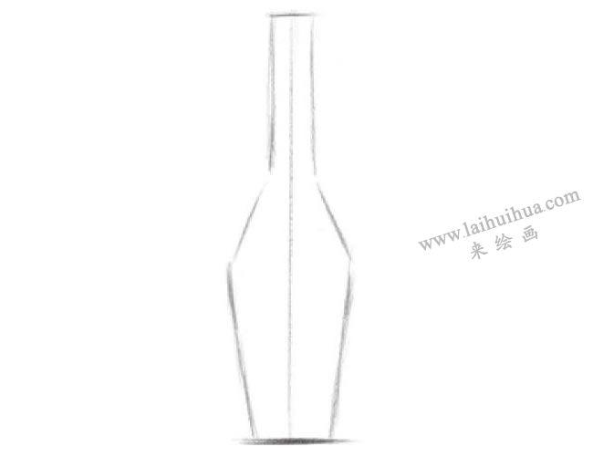 透明的酒瓶素描画法步骤01