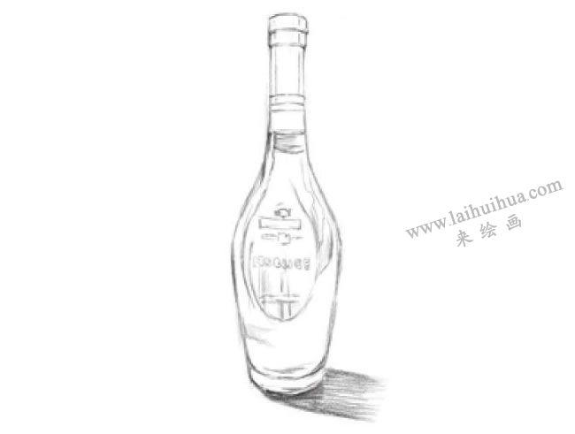 透明的酒瓶素描画法步骤03