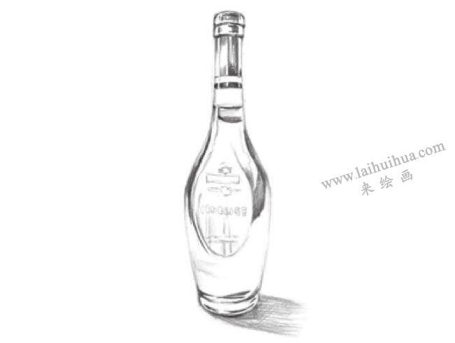 透明的酒瓶素描画法步骤04