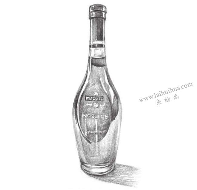 透明的酒瓶素描画法步骤07